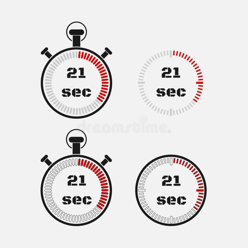 Minuterie 21 secondes sur le fond gris illustration stock