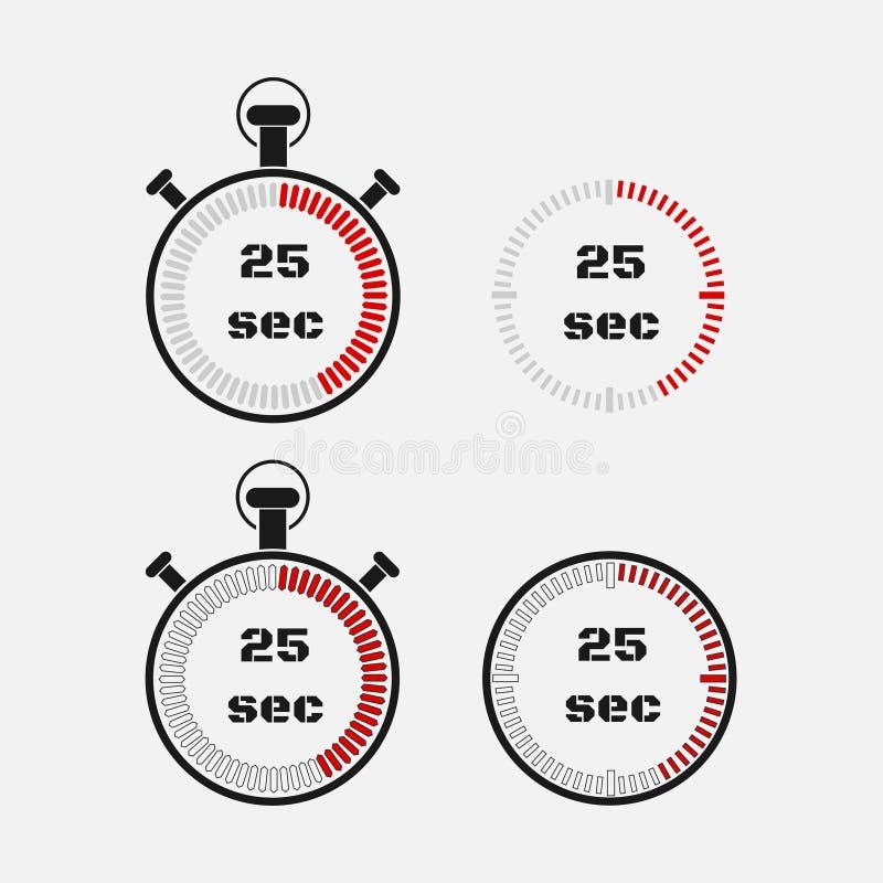 Minuterie 25 secondes sur le fond gris illustration de vecteur