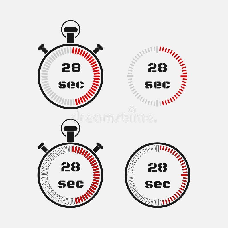 Minuterie 28 secondes sur le fond gris illustration stock