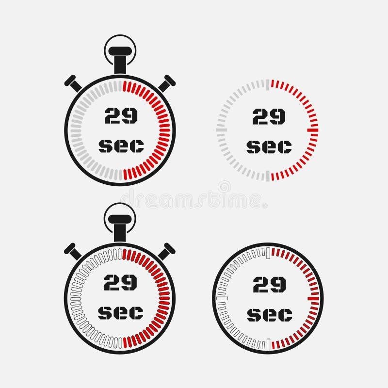 Minuterie 29 secondes sur le fond gris illustration libre de droits