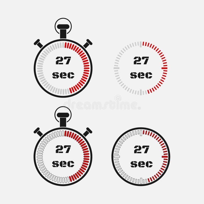 Minuterie 27 secondes sur le fond gris illustration stock