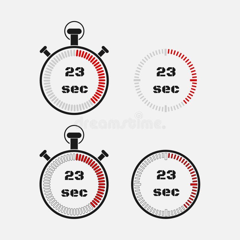 Minuterie 23 secondes sur le fond gris illustration libre de droits