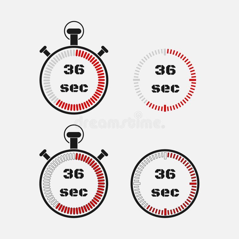 Minuterie 36 secondes sur le fond gris illustration libre de droits