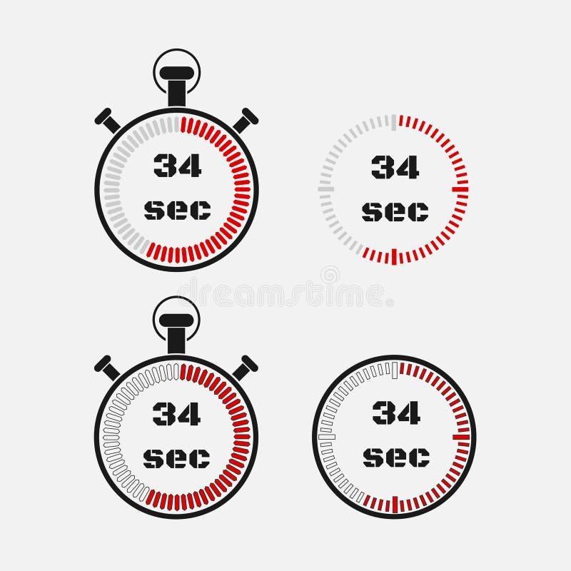 Minuterie 34 secondes sur le fond gris illustration stock