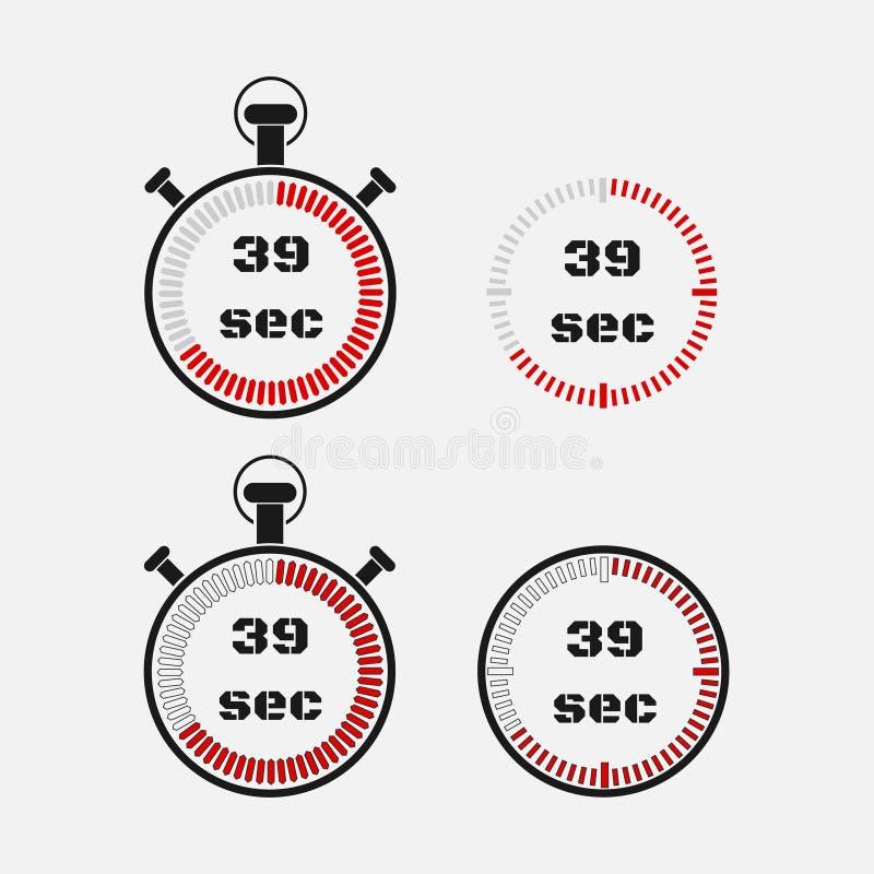 Minuterie 39 secondes sur le fond gris illustration de vecteur