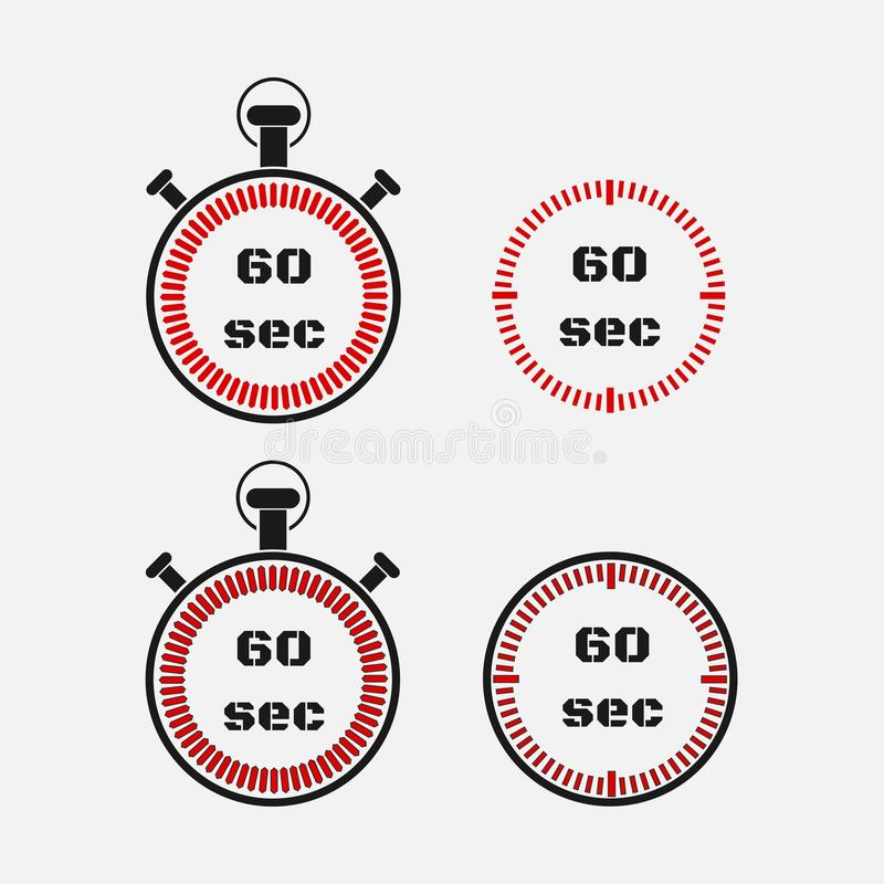Minuterie 60 secondes sur le fond gris illustration stock