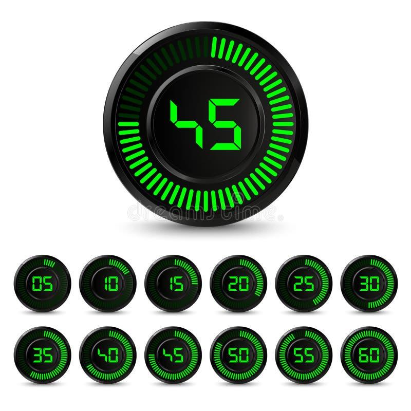 Minuterie verte noire de Digital avec l'intervalle de cinq minutes illustration libre de droits