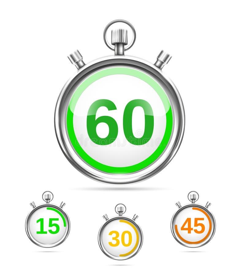 Minuteries ou chronomètres de vecteur illustration de vecteur