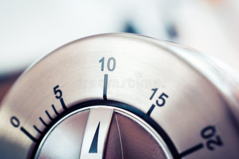 10 Minutes - Analog Chrome Kitchen Timer. A 10 Minutes - Analog Chrome Kitchen Timer royalty free stock photos