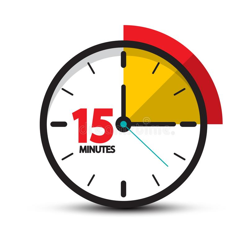15 Minutes Clock Icon. Vector Fifteen Minute Symbol. Isolated on White Background stock illustration