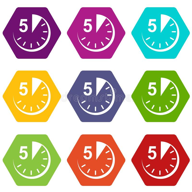 timer icons  five minutes stopwatch symbol stock vector
