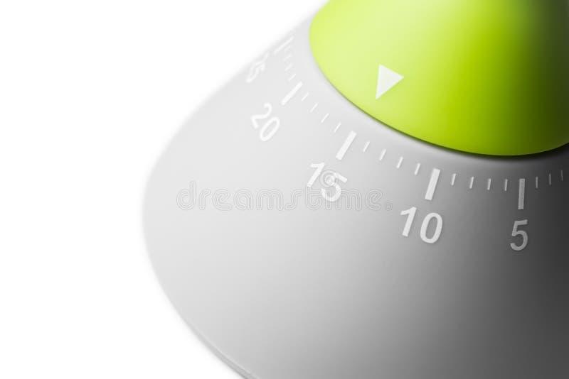 15 minutes - minuterie analogue d'oeufs de cuisine d'isolement sur le fond blanc photo stock