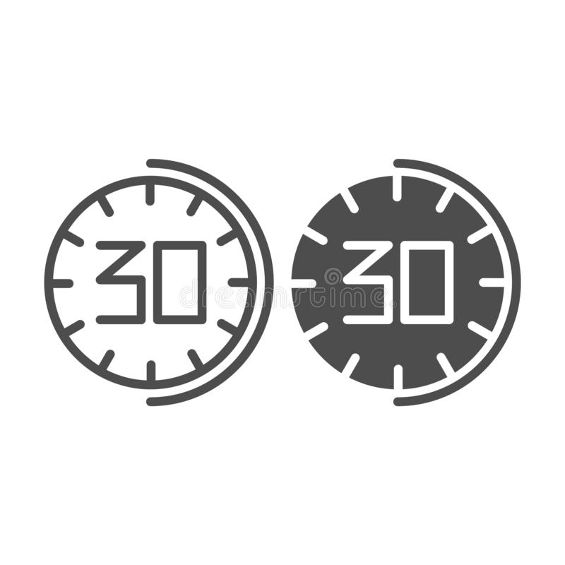 30 minutes watch line and glyph icon. Thirhty seconds time vector illustration isolated on white. Half an hour clock vector illustration