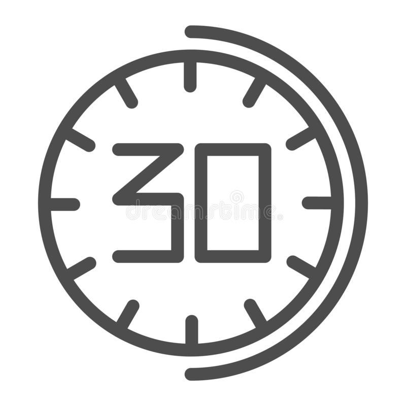 30 minutes watch line icon. Thirhty seconds time vector illustration isolated on white. Half an hour clock outline style stock illustration
