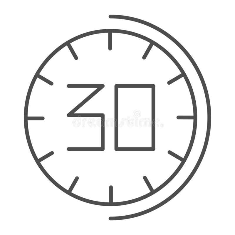 30 minutes watch thin line icon. Thirhty seconds time vector illustration isolated on white. Half an hour clock outline royalty free illustration