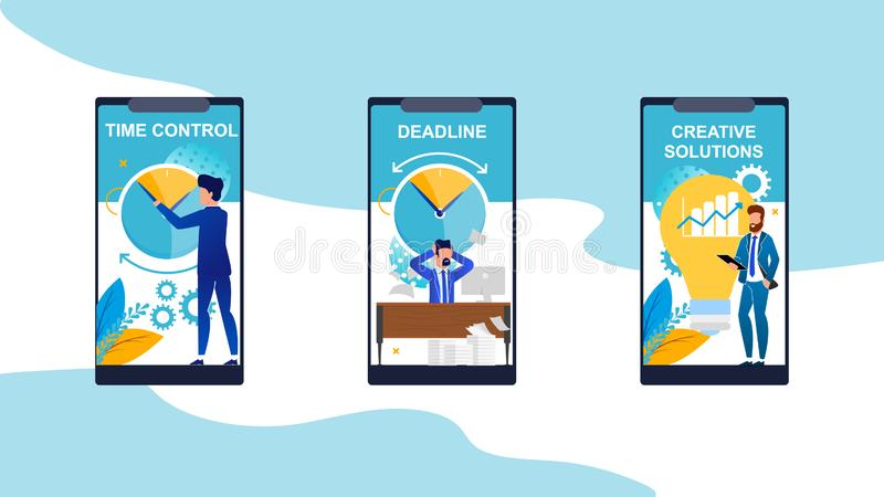 Minuteur réglé, date-butoir, solution créative illustration stock