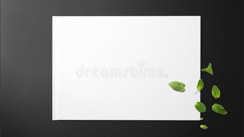 Minze auf Weißbuch auf schwarzem Hintergrund stockbilder