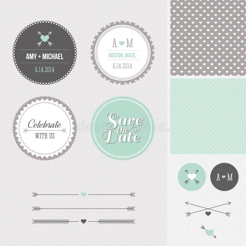 Minze + Grau-Abwehr das Datums-Hochzeits-Grafik-Set vektor abbildung