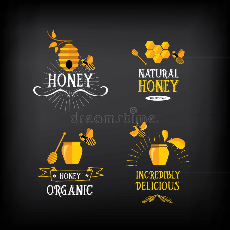 Miodowa odznaka i etykietka Abstrakcjonistyczny pszczoła projekt Wektor z grafiką ilustracji