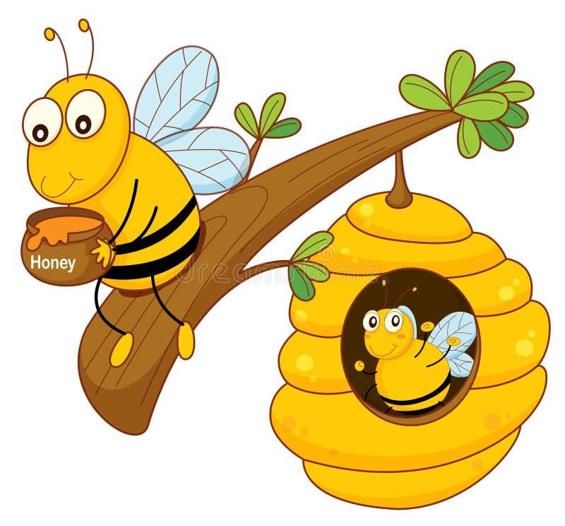 Miodowa pszczoła i grępla ilustracja wektor
