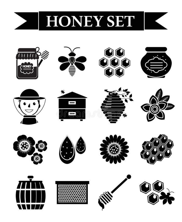 Miodowe ikony ustawiać, czarny sylwetka styl Beekeeping kolekcja przedmioty odizolowywający na białym tle Apiculture zestaw ilustracji