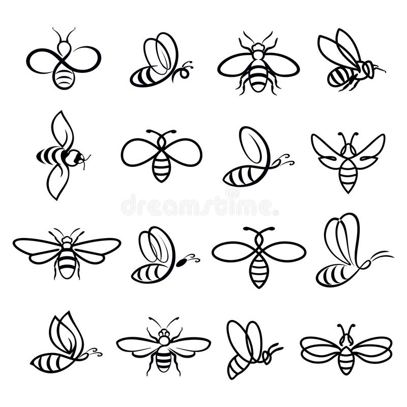 Miodowe pszczół ikony ilustracja wektor