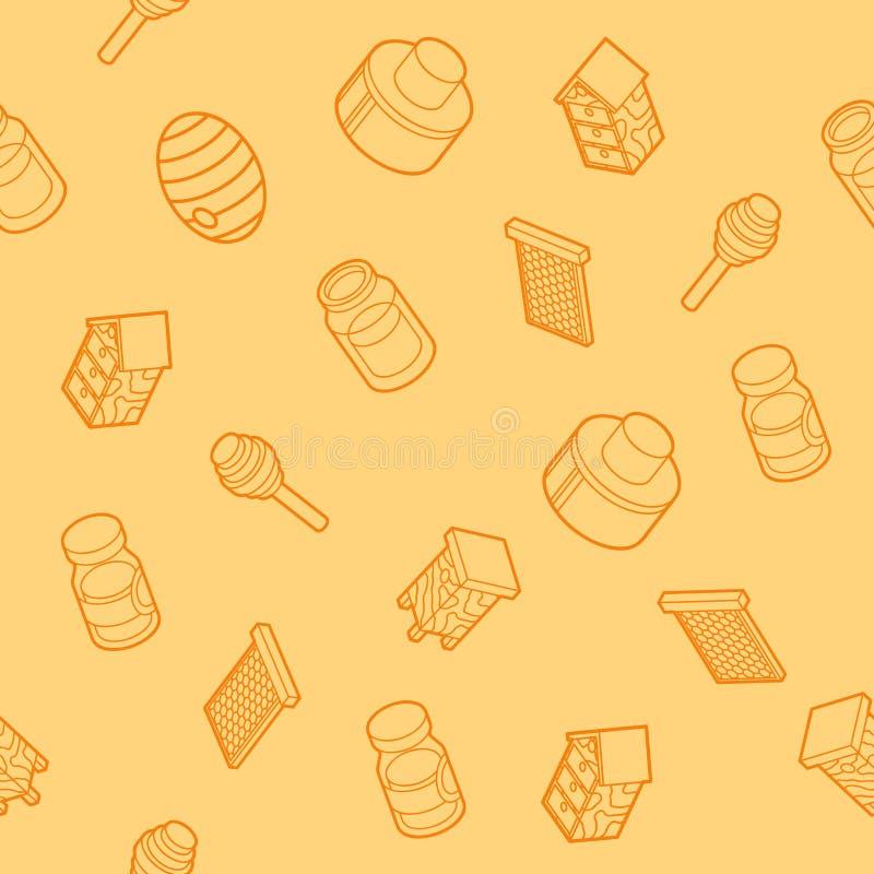 Miodowego płaskiego konturu isometric wzór royalty ilustracja