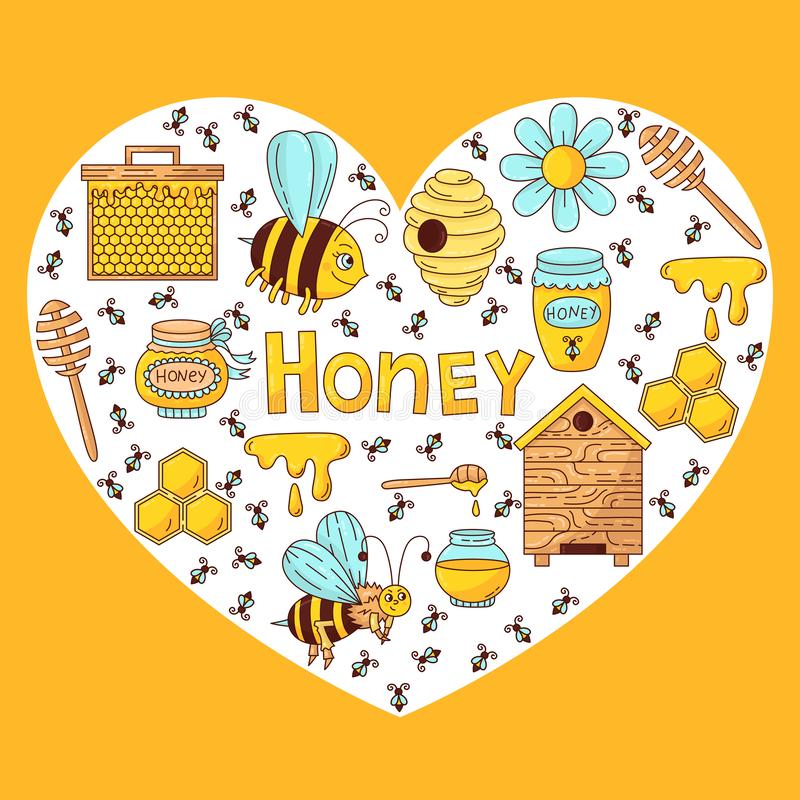 Miodowego pszczół ikon kierowego kształta wektorowy projekt ilustracja wektor