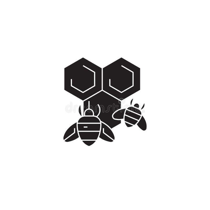 Miodowego pszczoły czerni pojęcia wektorowa ikona Miodowej pszczoły płaska ilustracja, znak ilustracji