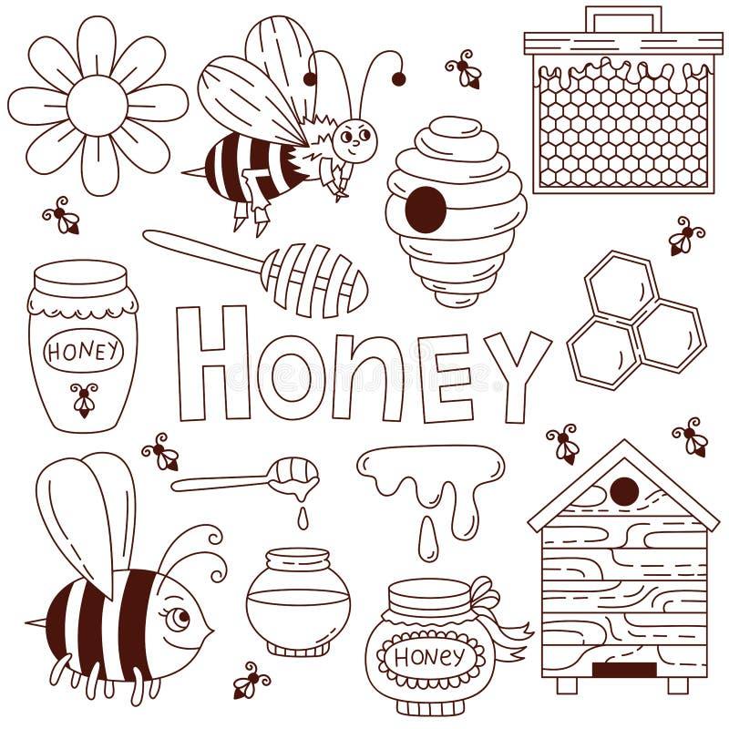 Miodowego pszczoły doodle ikon wektoru śliczny set ilustracja wektor