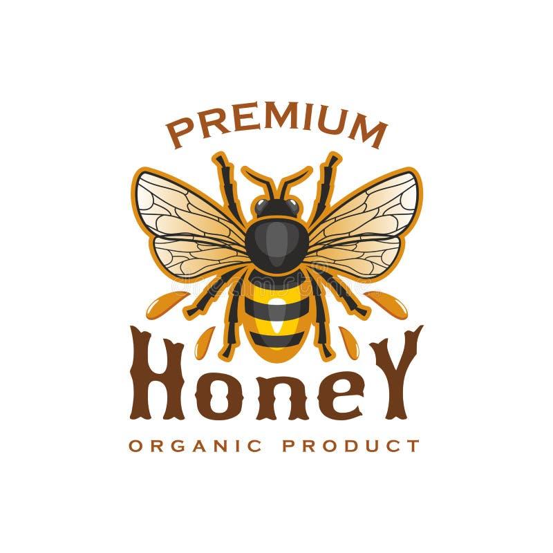 Miodowej pszczoły wektorowa ikona dla organicznie produkt etykietki ilustracja wektor