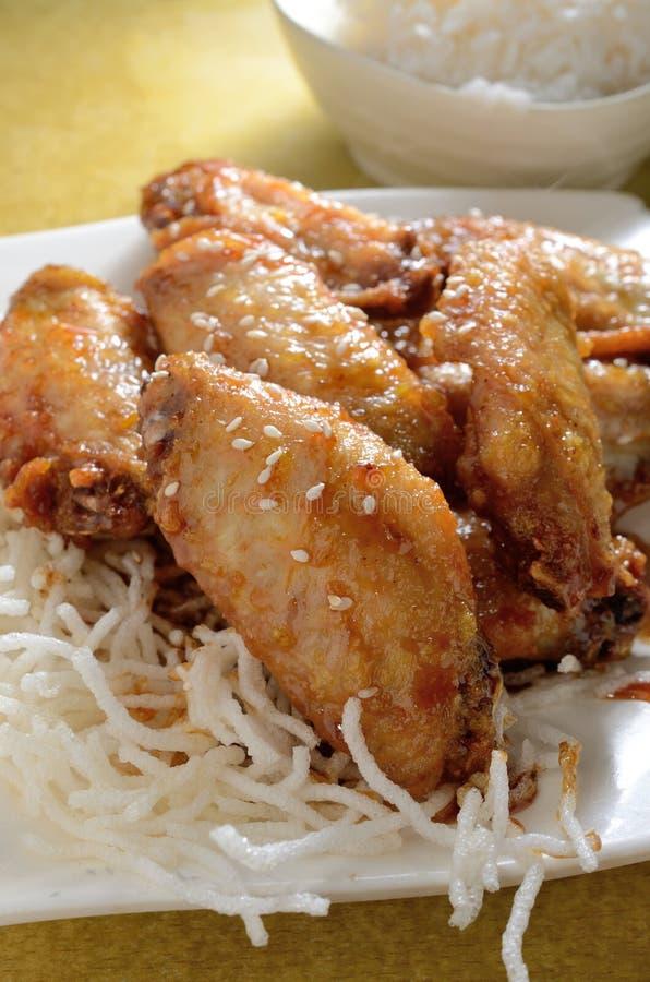 Miodowi kurczaków skrzydła zdjęcia stock