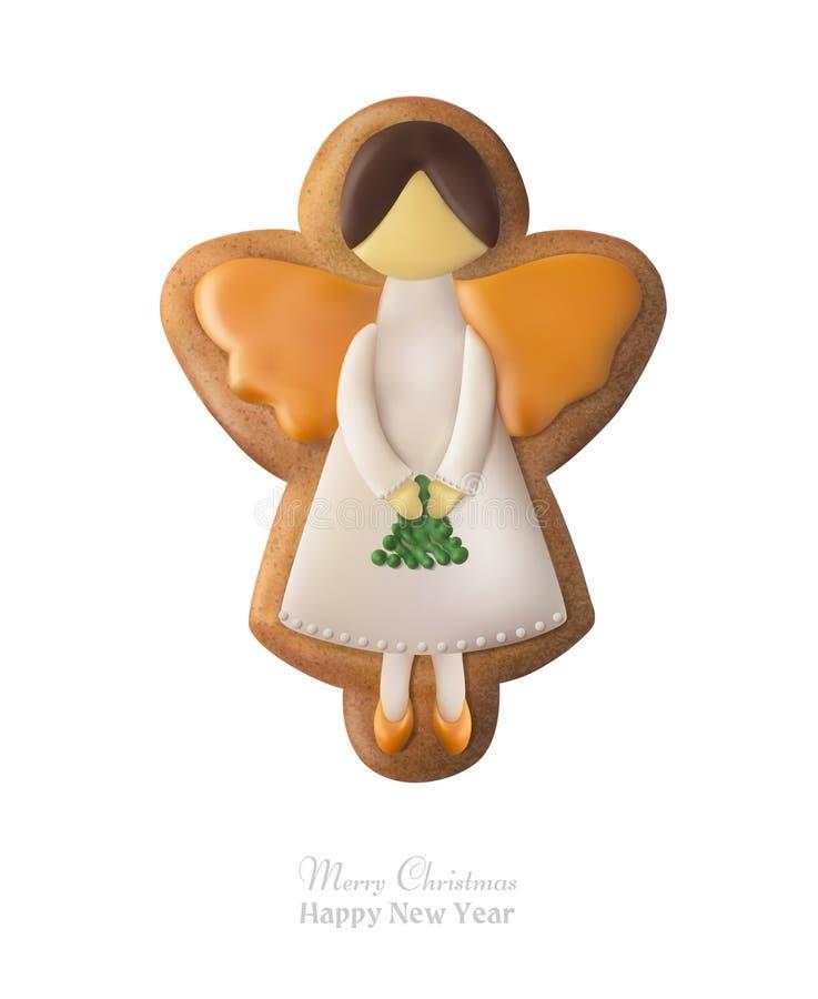 Miodownik w formie anioła Świąteczna pamiątka ilustracja wektor