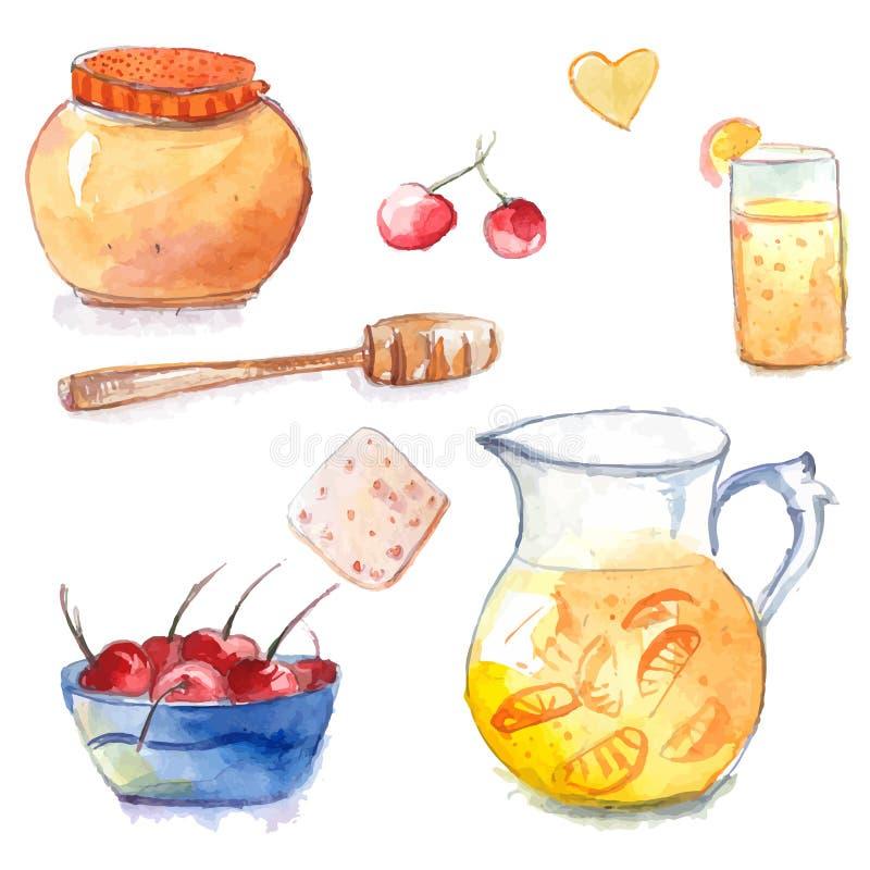 Miodowy garnek z drewnianą chochlą, dzbankiem i szkłem, pomarańczowa lemoniada, ciastko i puchar z wiśniami, Set ręka rysujący ak ilustracja wektor