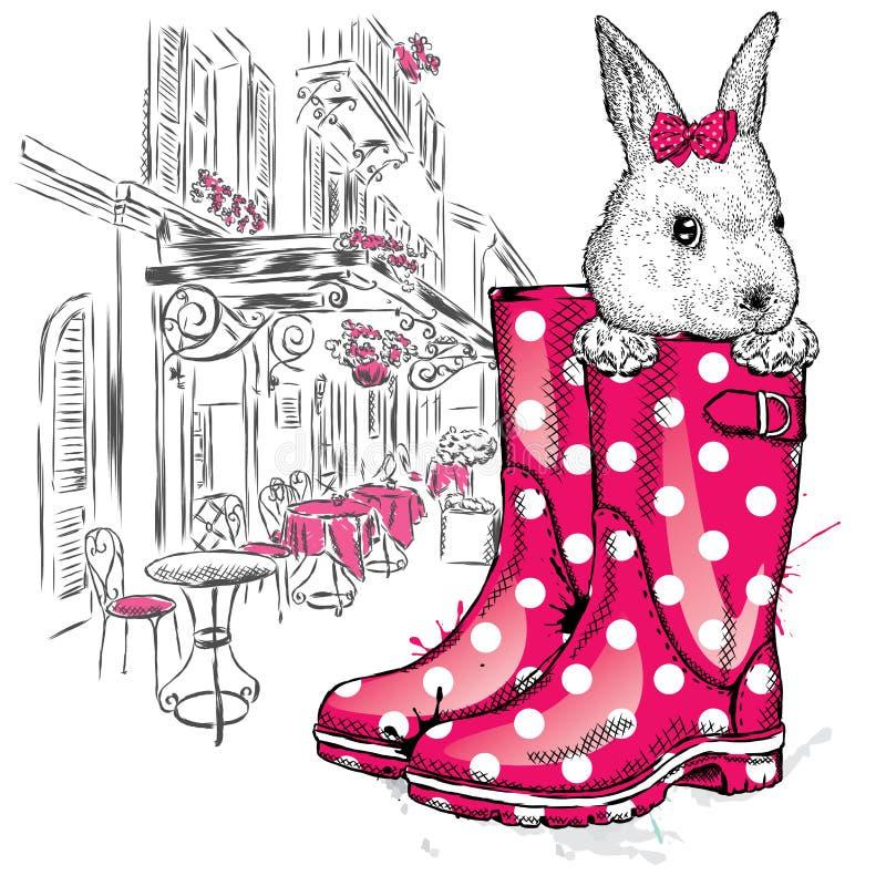 Miodowy królik w bucie ilustracji