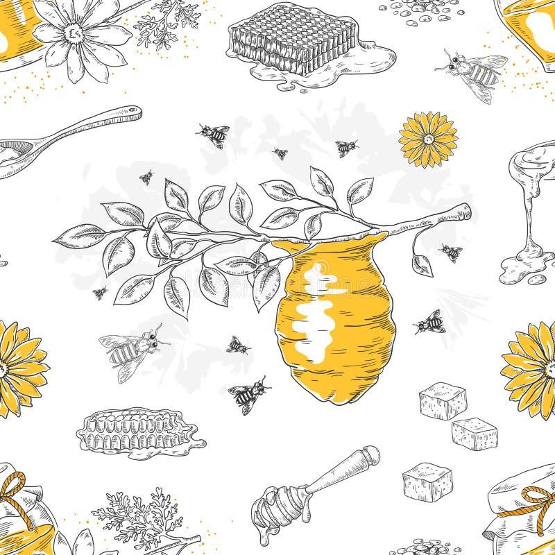 Miodowy nakreślenie wzór Wręcza patroszonego honeycomb i ulowego bezszwowego tło z kwiatami i pszczołami Wektorowy miodowy plakat royalty ilustracja