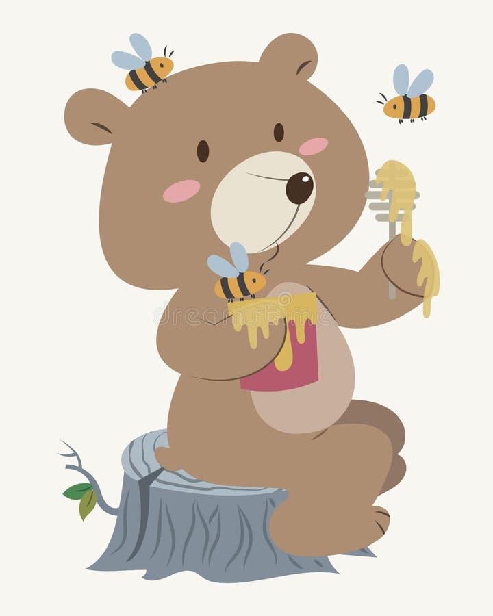 Miodowy niedźwiedź z pszczołami ilustracji