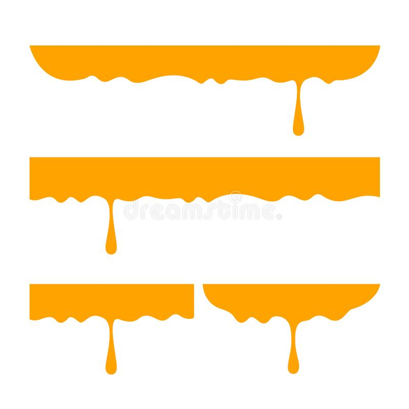 Miodowy obcieknięcie z miodową chochlą odizolowywającą na białym tle, mieszkanie ciecza nieatutowej kropli żółta pomara royalty ilustracja