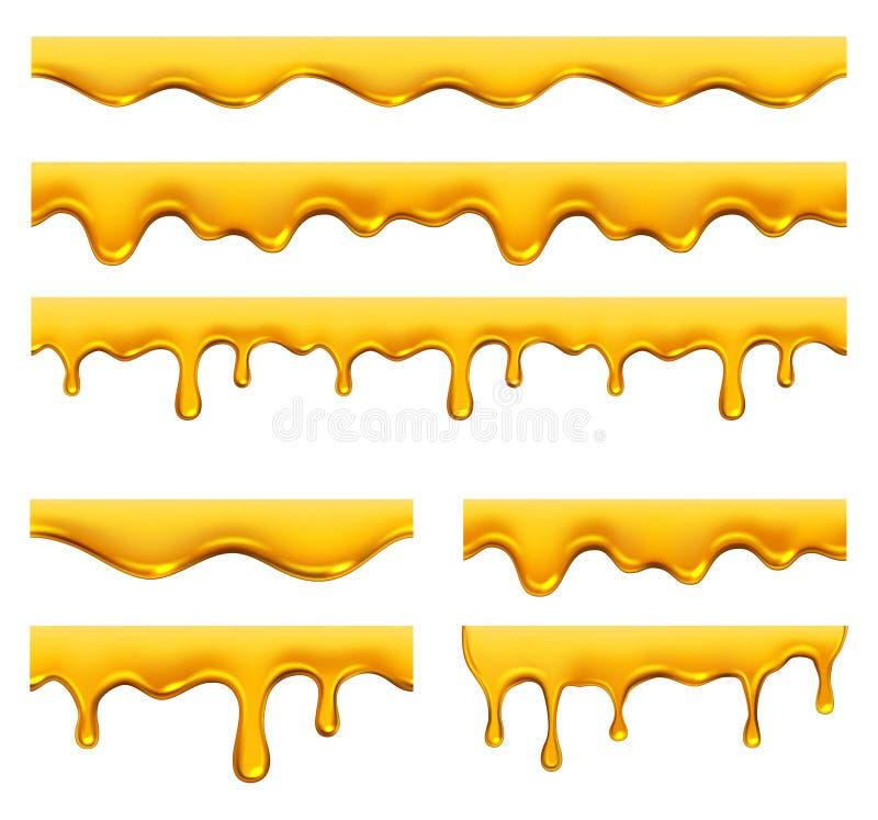 Miodowy obciekni?cie Żółtego syropu ciekły złoty olej opuszcza wektorowego realistycznego szablon i bryzga royalty ilustracja