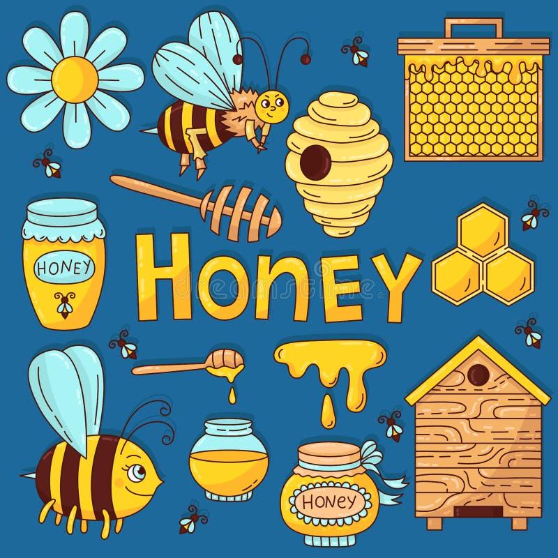 Miodowy pszczół ikon wektoru set ilustracji