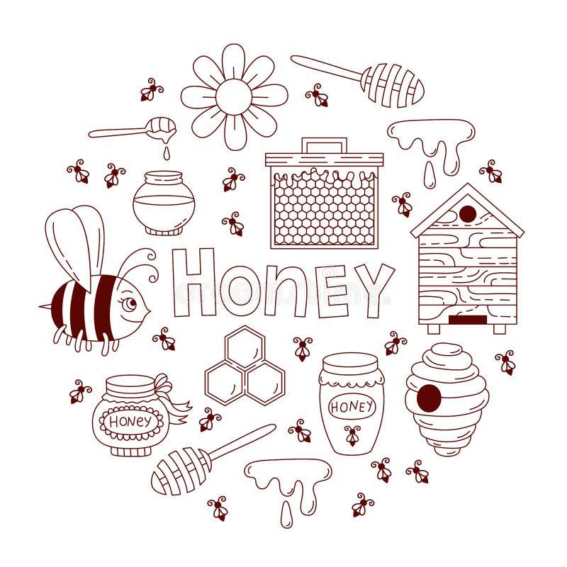 Miodowy pszczoły doodle ikon wektoru set ilustracji