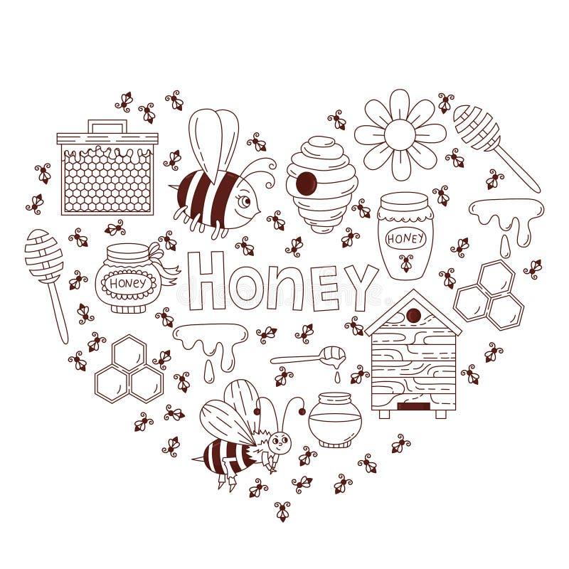Miodowy pszczoły doodle ikon wektoru set ilustracja wektor