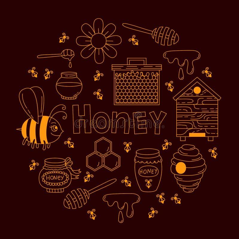 Miodowy pszczoły doodle linii ikon wektoru set royalty ilustracja