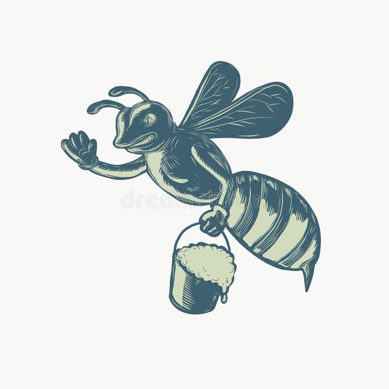 Miodowy pszczoły falowanie Z Pail Miodowy Scratchboard royalty ilustracja
