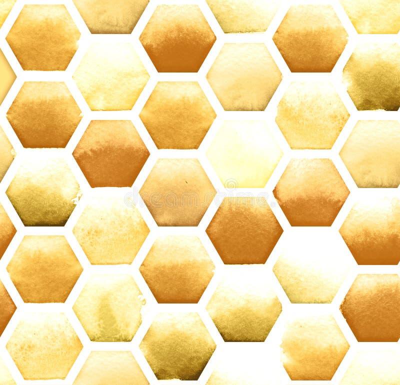 Miodowy pszczoły honeycomb wzór na białym tle Akwarela bezszwowy wzór ilustracja wektor