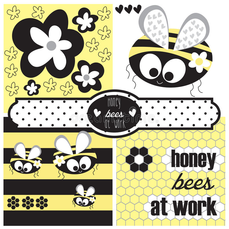 Miodowy pszczoły i kwiatu wektor ilustracja wektor