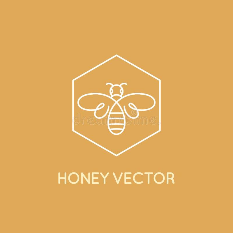 Miodowy pszczoły pojęcie - emblemat dla karmowy pakować ilustracja wektor