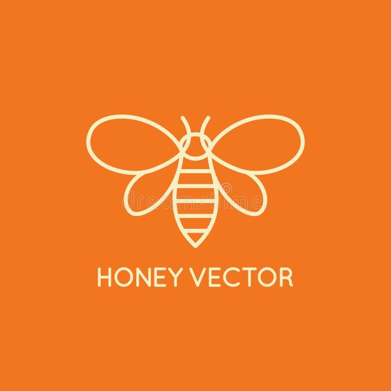 Miodowy pszczoły pojęcie - emblemat dla karmowy pakować royalty ilustracja