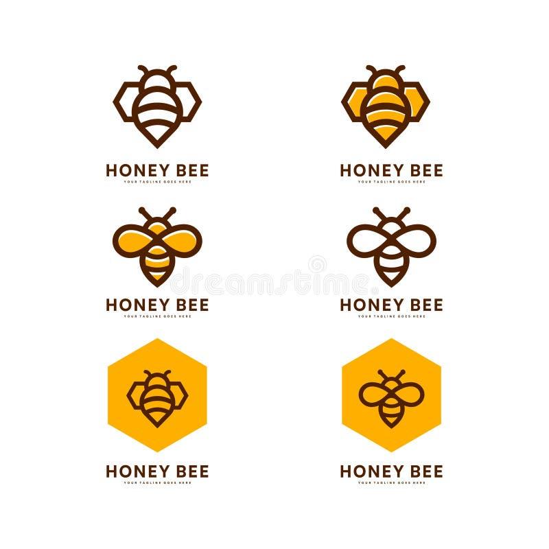 Miodowy pszczo?a set wektor Set miodu i pszczo?y etykietki dla miodowych log?w produkt?w Odosobniona insekt ikona ma?a pszczo?y d ilustracja wektor