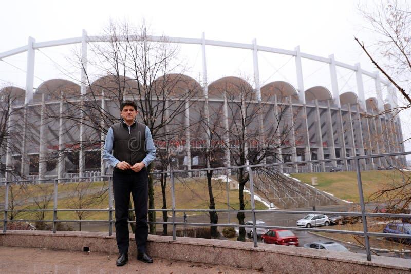 Miodrag Belodedici cerca de la arena nacional, Bucarest, Rumania foto de archivo
